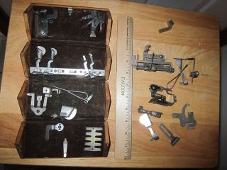 Rare 1800s Greist Mfg Co Sewing Machine Wood Box Filled With Parts New Haven photo