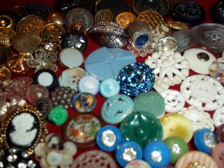 110 Buttons Lots Vintage Rhinestone New Glass Antique Czech Wedding Victorian photo