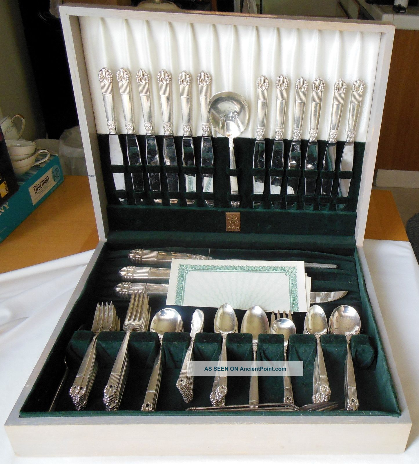 National Guildcraft 115 - Piece Silverplate Flatware Astrid Box 1945 National photo