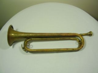Brass Bugle Vintage Or Antique Made In Czechoslovakia Many Dents photo