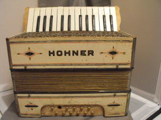 Vintage Painted White W/designs Marked Hohner Wooden Starter,  Smaller Accordion photo