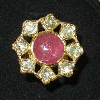 Ethnic Moghul 22k 22kt 18k Solid Gold Diamond Ruby Dinner Cocktail Enamel Ring photo