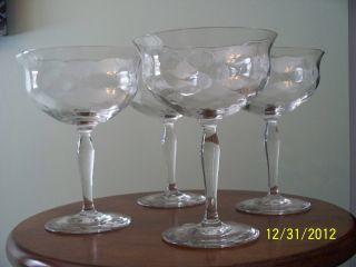 Antique/vintage Set 4 Crystal Stemglasses/compotes photo