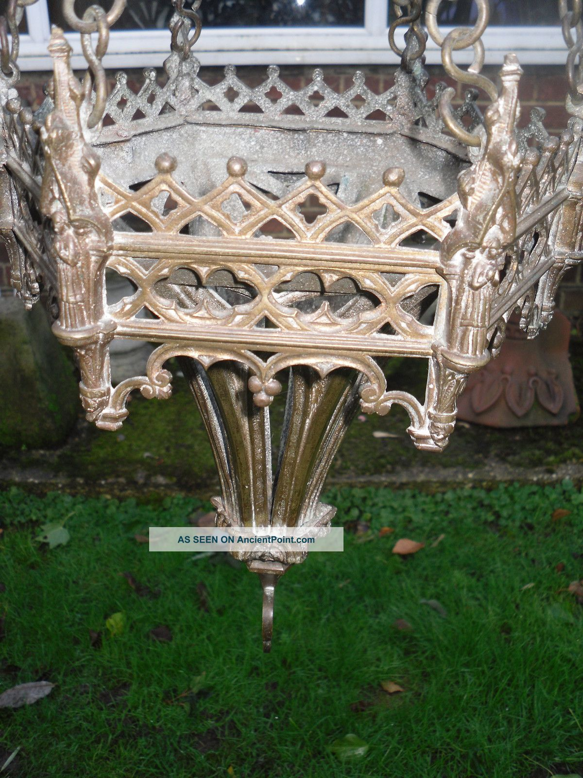 Victorian Gothic Bronze Church Sanctuary Lamp 20th Century photo
