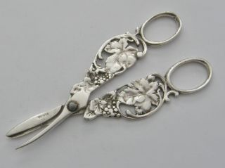 Antique Victorian Sterling Silver Scissor Grape Shears Grape Leaf Vine Motif photo