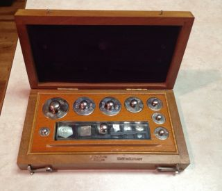 Vintage German 20 Pc Brass Apothecary Weight Set Wood Case Antique Balance Scale photo