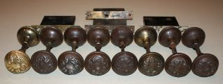 Antique Ornate Victorian Door Knobs: 8 Matching Sets,  4 Interior Locks,  Latches photo