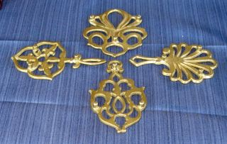 4 Antique Style Brass Trivets Colonial Home Hearth Kitchen Ornament Pull Finial photo