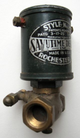 Cast Metal Vintage Reulator Savutime Devices,  Inc.  Rochester,  Ny Patent 1925 photo