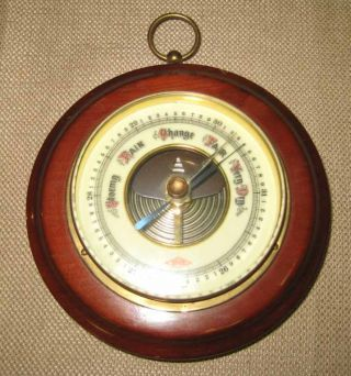 Vintage German By Atco Barometer Aneroid Enamel Dial Rosewood Mount 1930 ' S photo