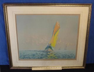 Antique Artist Signed Impressionist Sailboat Race Colored Etching Print photo