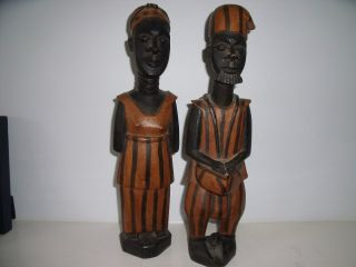 Pair Of Northern Ghana Carved Wooden Figures - 13 Ins Tall photo