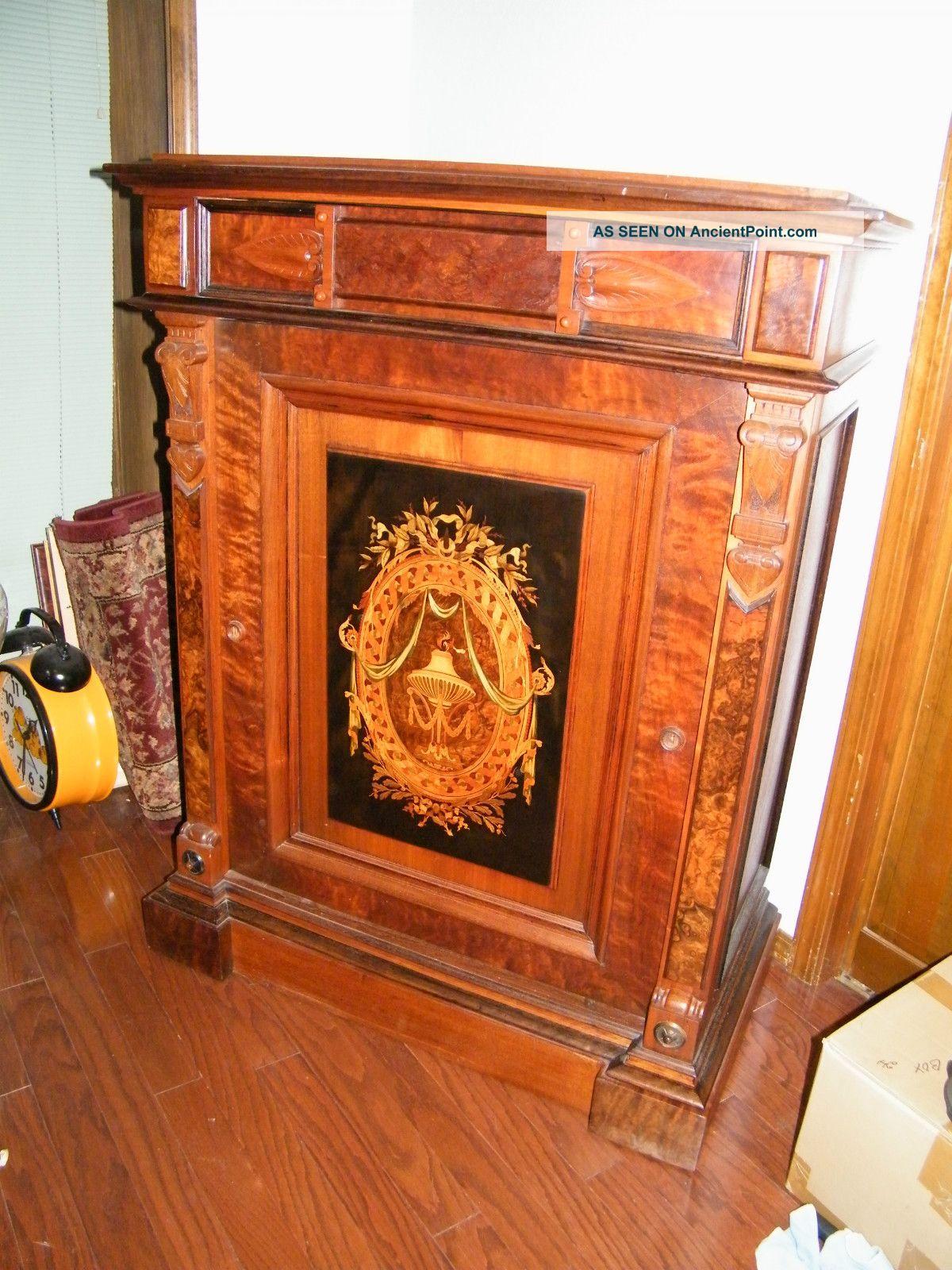 Victorian Marquetry Burl Walnut Server,  Liquor Cabinet,  Buffet,  Rennisance C1860 1800-1899 photo