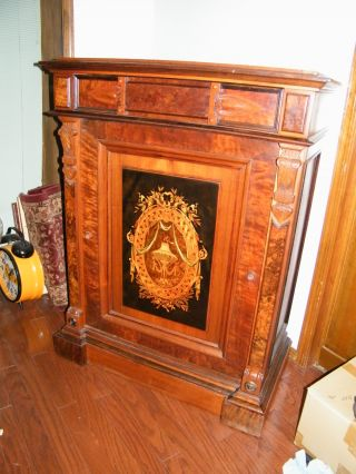 Victorian Marquetry Burl Walnut Server,  Liquor Cabinet,  Buffet,  Rennisance C1860 photo