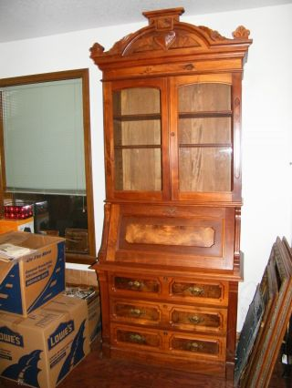 Victorian Burl Walnut Drop Front Secretary/china/hutch Magnificent 7 ' 8