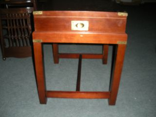 Chinese Chippendale Mahogany Side Table Server/w Serving Tray Built In photo