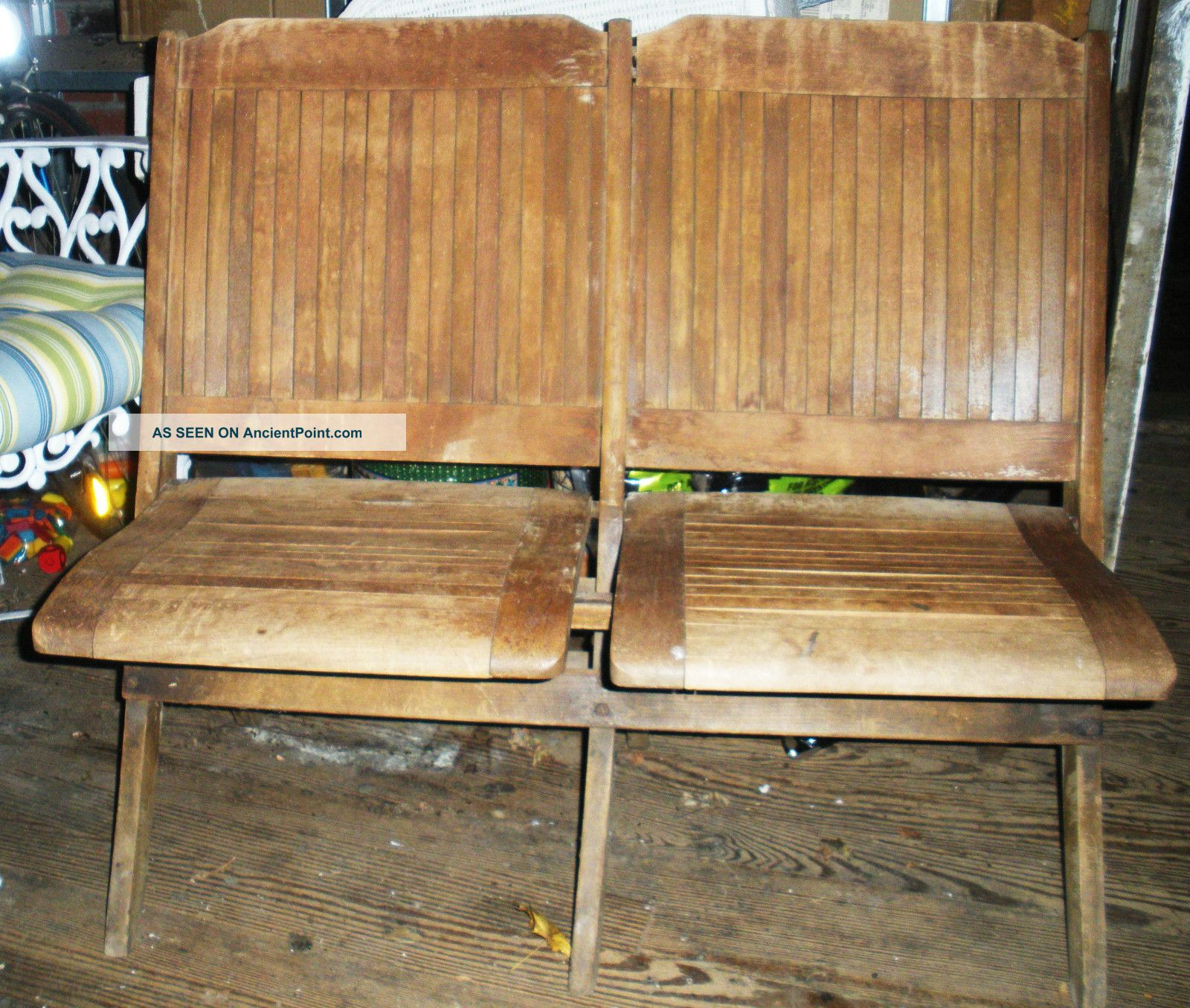Antique Folding Wooden Courtroom Theatre Chairs Attached Double