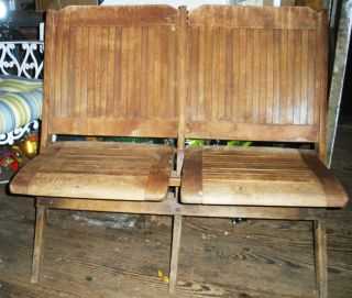Antique Folding Wooden Courtroom Or Theatre Chairs Attached Double Chairs Wood photo