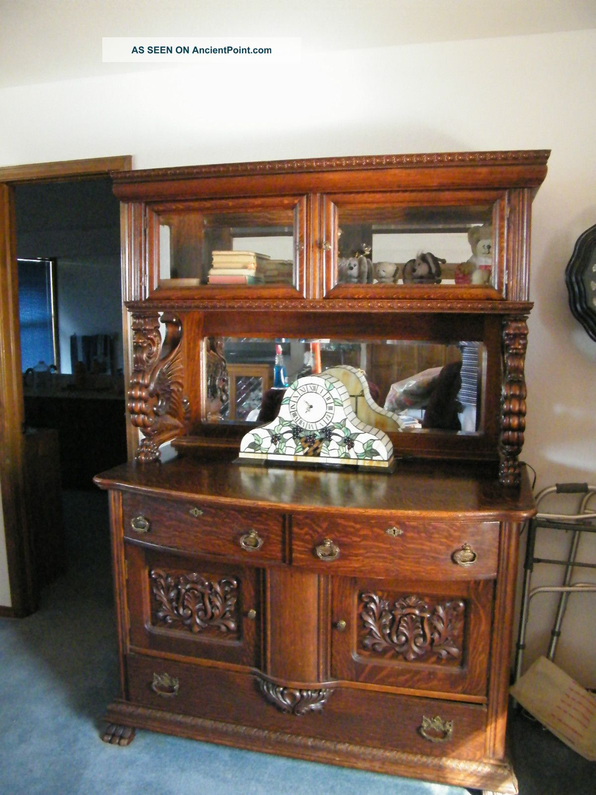 Qtr.  Oak Sideboard W/full Griffins, , ,  China Cabinet,  Bevel Mirrors,  Huge Feet 1900-1950 photo