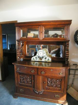 Qtr.  Oak Sideboard W/full Griffins, , ,  China Cabinet,  Bevel Mirrors,  Huge Feet photo