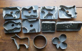 Group Of 11 Very Old Tin Cookie Cutters - Some Flatback - Fluted & Animal photo