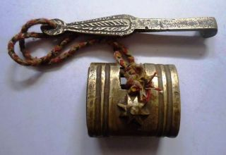 Old Vintage Hand Casted Brass Pad Lock photo