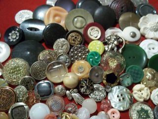 114 Buttons Lots Vintage Rhinestone New Glass Antique Czech Bakelite Victorian photo
