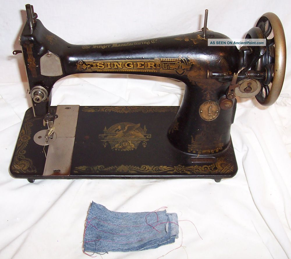 Serviced Antique 1920 Singer 127 - 3 Sphinx Treadle Sewing Machine Works See Video Sewing Machines photo