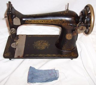 Serviced Antique 1920 Singer 127 - 3 Sphinx Treadle Sewing Machine Works See Video photo
