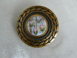 Large Antique Button Impressionistic Style Brass & Ceramic - Muted Colors photo