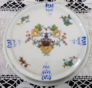 Vintage P K Unity Germany Porcelain Trivet Yellow Floral Porzellanfabrik Kahla photo