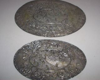 Estate 2 Antique Siver/silverplated Oval Hotplates Trivets Felt Backing Unique photo