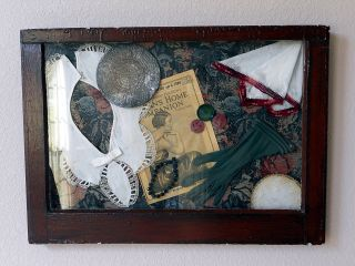 Stunning Decoupage 1920 ' S Fashion Artifacts In An Old Antique Window Shadowbox photo