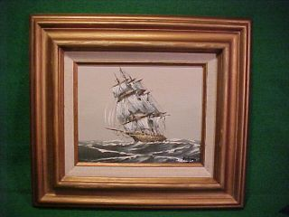 Vintage Signed Oil Painting Of Clipper Ship By Rodgers photo