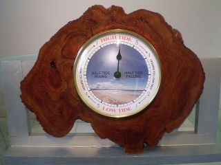 Natural Edge Australian Red Gum Burl Wood Wall Tide Clock photo