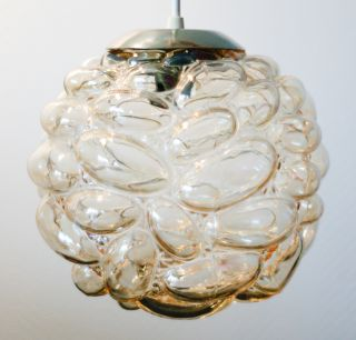 Vintage Murano Bubble Glass Amber Pendant Ceiling Light Chandelier 1950 photo
