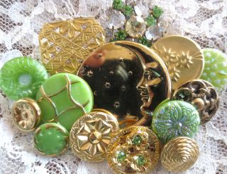 Buttons Mix Vintage & New Glass Metal Rhinestones Peridot Green Gold photo