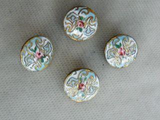 Colorful Dainty Antique Enamel & Gilt Button Set photo