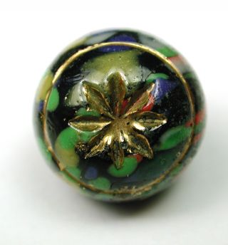 Antique Glass Ball Button Colorful W/ Intaglio Gold Lustered Flower Design photo