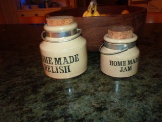 2 Vintage Stoneware Jar W Cork & Metal Home Made Jar & Relish Made In England photo