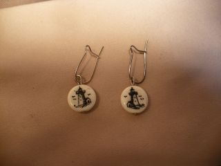 Scrimshaw Bone Earrings Lighthouse photo
