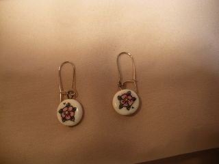 Scrimshaw Bone Earrings Beach Rose photo