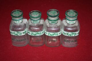 Vintage Hand Painted Apothecary Barber Set (4) Bottles Witch Hazel Lavoris Acid photo