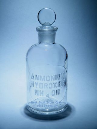 ☼→ Laboratory Bottle,  Ammonium Hydroxide,  Glass Raised Letters - Good Condition photo