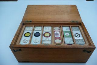 Antique 19th Century Pine Slide Case With 66 Antique Slides photo