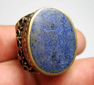 Matncat84 A Nomadic / Bedouin Bronze Ring Old Set With Lapis Lazuli H75 photo