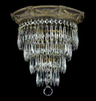 Antique Wedding Cake Flush Mounted Crystal Chandelier Gold Bronze Finish Light photo