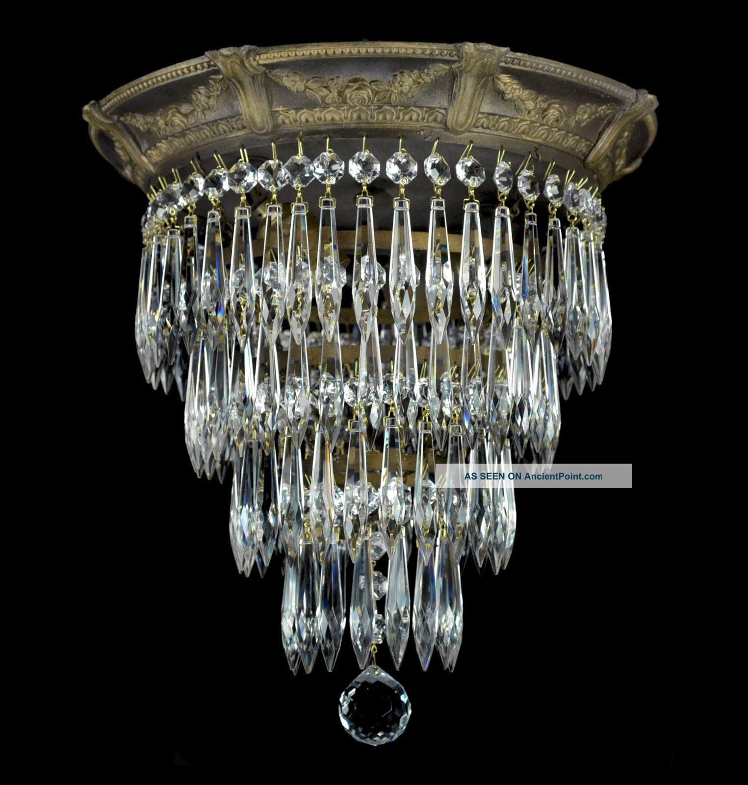Vintage Flush Mount Crystal Chandelier images