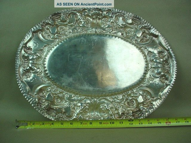 1920s Antique Solid Silver Peruvian Large Oval Plate W/ornate Edge Mexico photo