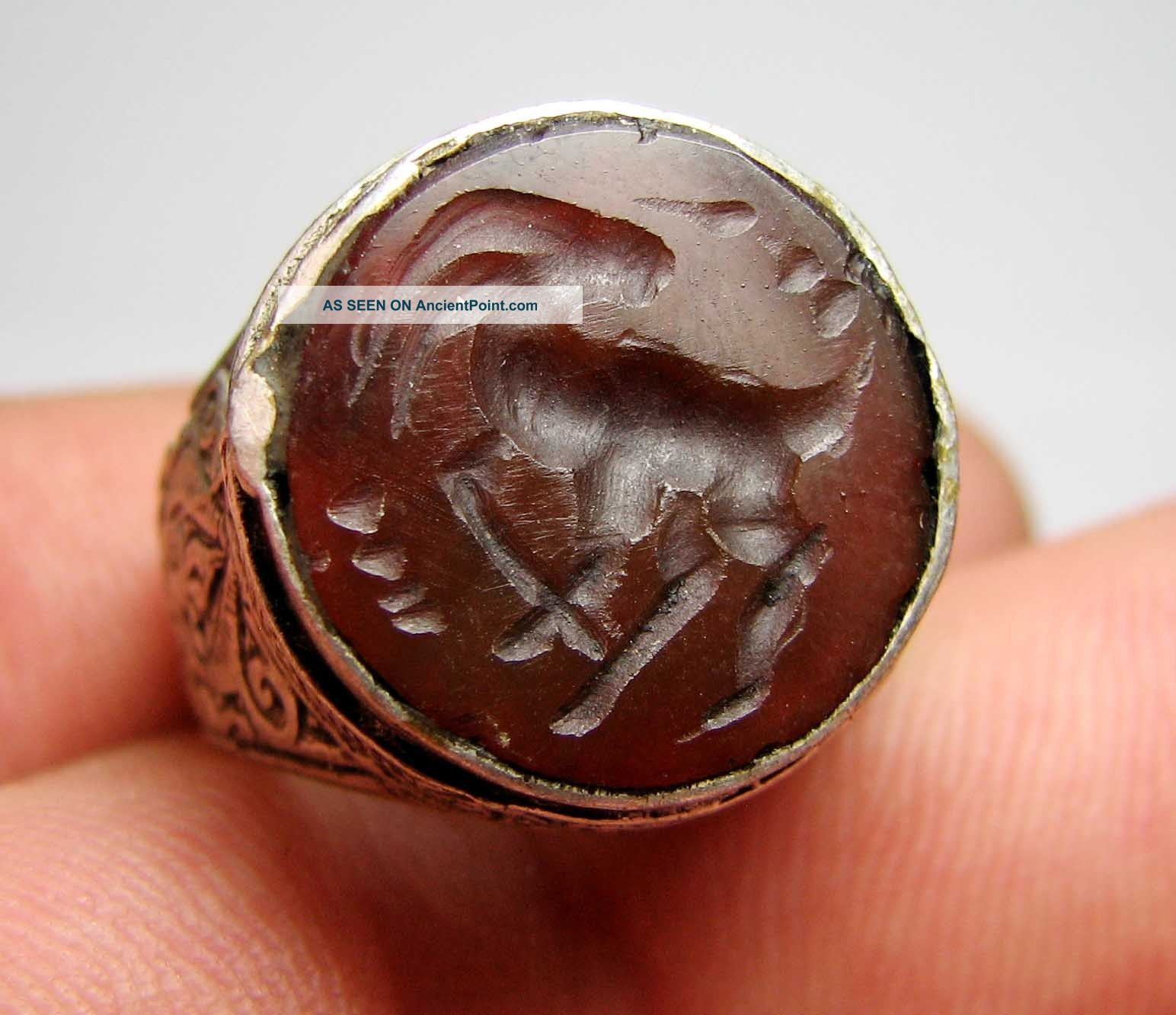 Matncat84 A Nomadic / Bedouin Silver Intaglio Ring Old Decoration H142 Near Eastern photo